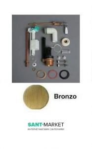 Механизм двойного слива SIMAS Lante D24BR с фронтальной ручкой для бачка LA09B, бронза