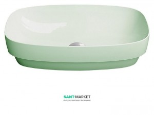 Раковина для ванной настольная или полувстраиваемая Catalano Green LUX зеленая матовая без отв. под смеситель 60х38 см 160AGRLXVS