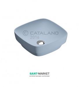 Раковина для ванной настольная или полувстраиваемая Catalano Green LUX голубая матовая без отв. под смеситель 40х40 см 140AGRLXAS