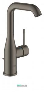 Смеситель для раковины однорычажный с донным клапаном Grohe Essence матовый графит 32628AL1