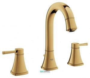 Смеситель для раковины двухрычажный с донным клапаном скрытый Grohe Grandera золотой рассвет 20389GL0
