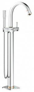 Смеситель однорычажный напольный (отдельностоящий) Grohe Grandera с душевым гарнитуром хром/золото 23318IG0