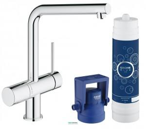 Набор смеситель для кухни с фильтром Grohe Blue Minta New Pure с набором для подключения хром 31345002