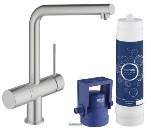 Набор смеситель для кухни с фильтром Grohe Blue Minta New Pure с набором для подключения суперсталь 31345DC2