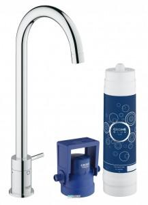 Набор смеситель с вентилем для кухни с фильтром Grohe Blue (без смешивания) с набором для подключения хром 31301001
