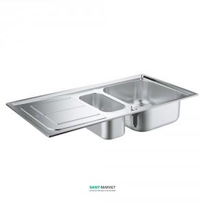 Мойка для кухни прямоугольная Grohe K300 крыло слева, 1,5 чаши, врезная, нержавеющая сталь 31564SD0