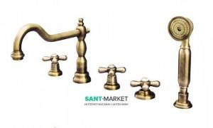Смеситель на борт ванны на 5 отверстий Fiore MARGOT бронза 26ZZ0607