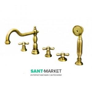 Смеситель на борт ванны на 5 отверстий Fiore MARGOT золото 26OO0607