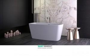 Ванна акриловая отдельностоящая Knief Cube  170х80х60 белая 0100-284-06 + Сифон для ванны Knief 0100-091-06