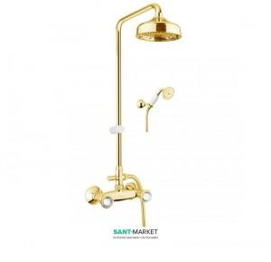 Смеситель для душа с верхней лейкой ручным душем шлангом и держателем Fiore VENERE SKY золото/Swarovski 13OO0620