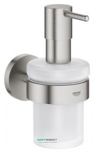 Дозатор жидкого мыла Grohe Essentials с держателем суперсталь 40448DC1