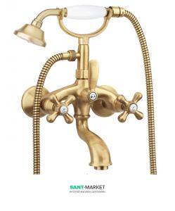 Смеситель для ванны c шлангом и ручным душем Fiore MARGOT бронза 26ZZ0600
