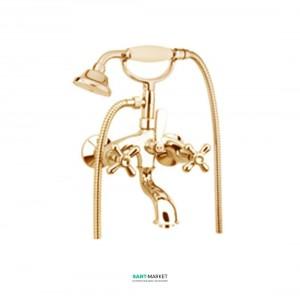 Смеситель для ванны c ручным душем и шлангом Fiore MARGOT SKY золото/Swarovski 01OO0600
