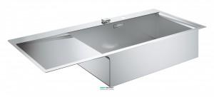 Мойка для кухни прямоугольная Grohe K1000 крыло слева  1 чаша  врезная  нержавеющая сталь со корзинчатым вентилем 31582SD0