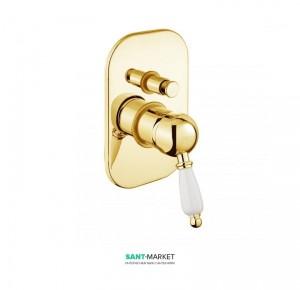 Смеситель для душа скрытого монтажа с переключателем Fiore IMPERIAL золото/керамика 83OO5134