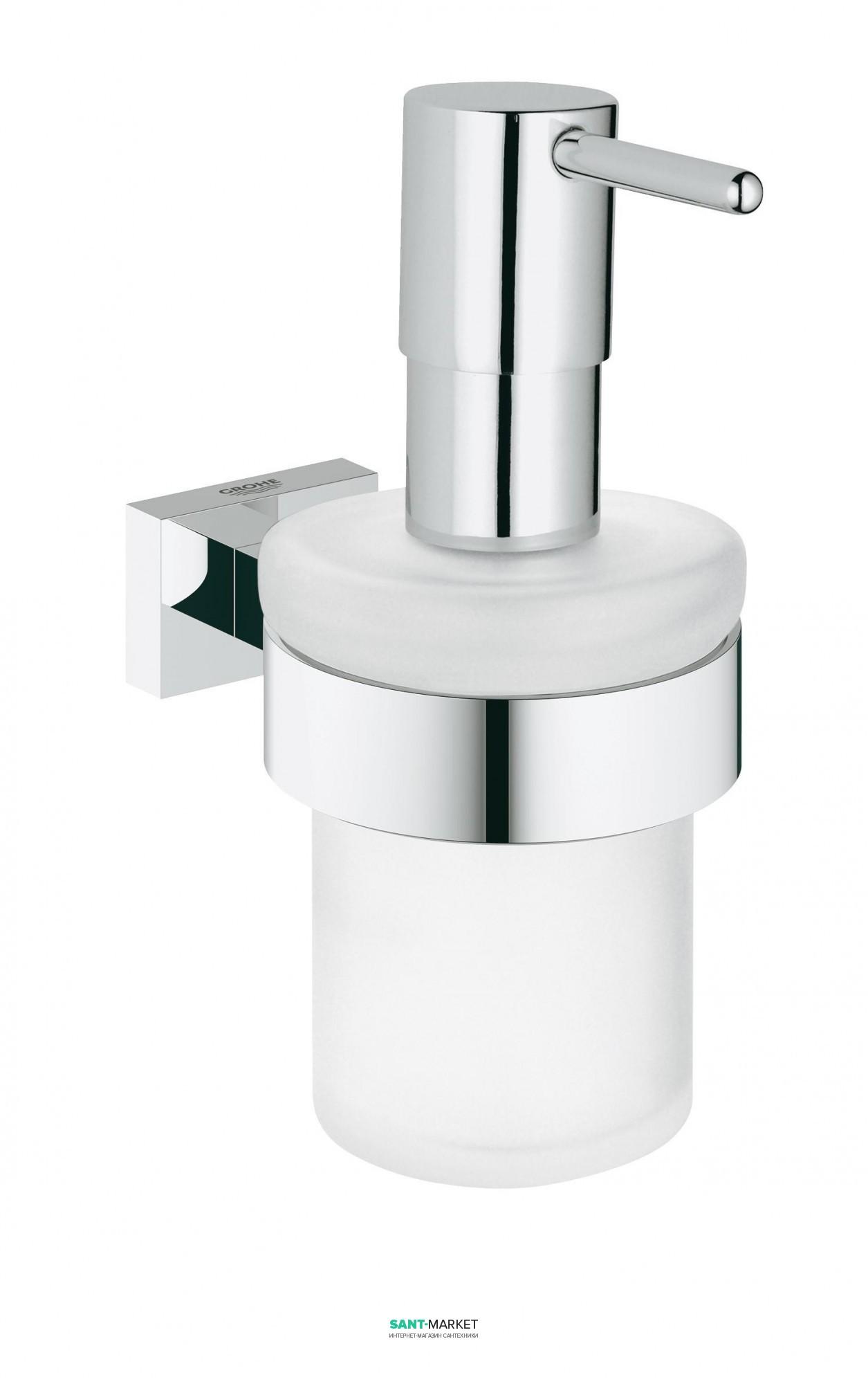 grohe Дозатор жидкого мыла с держателем Grohe Essentials Cube хром 40756001