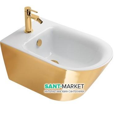 Биде подвесное Catalano Gold & Silver безободковое с одним отверстием керамика белый/золото 1BS55NRBO