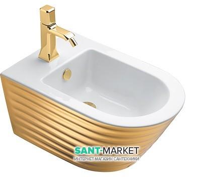 Биде подвесное Catalano Gold & Silver безободковое с одним отверстием керамика волны белый/золото 1BS55ZEBO