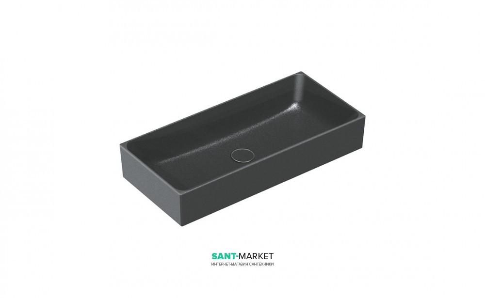 Раковина для ванной накладная Catalano Zero 75х35 керамическая цвет черный матовый 17535ZENS