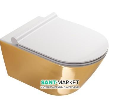 Унитаз подвесной Catalano Gold & Silver 55х35 см керамика белый/золото 1VS55NRBO