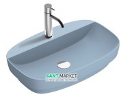 Раковина для ванной накладная Catalano Colori 65х42 керамика цвет синий поверхность сатин 165GRLXNAS