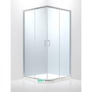 Душевая кабина Eger Heviz 90х90 квадратная профиль алюминий хром прозрачное стекло 599-077/1