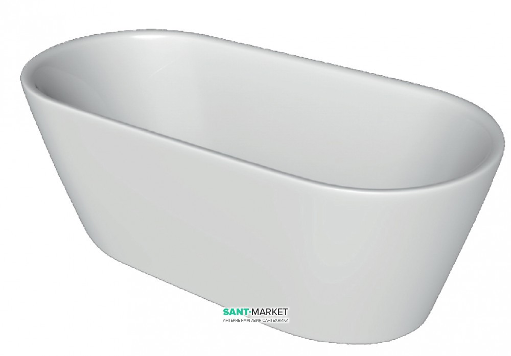 Ванна акриловая отдельностоящая Volle 160х75 с лицевой панелью и сифоном cliсk-claсk белая 12-22-612