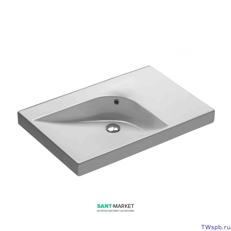 Раковина для ванной накладная левая Hatria GRANDANGOLO 75х50 см YXNS01