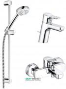 Комплект смесителей для ванной с душевым гарнитуром 3 в 1 Kludi Pure&Easy латунь хром 376850565