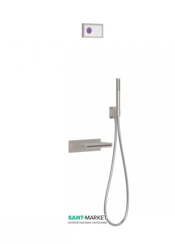 Электронная душевая система скрытого монтажа Tres Shower Technology с термостатом и каскадным изливом сталь/белый 09286556AC