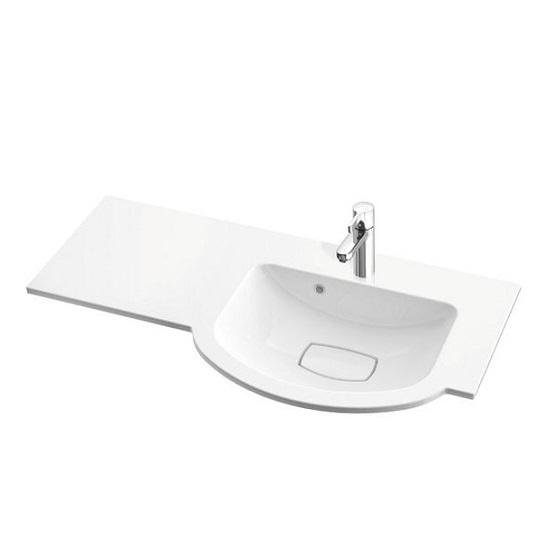 Раковина для ванной Marmorin Emma 900 R врезная с крылом слева литой камень белый  639 090 920 xx x