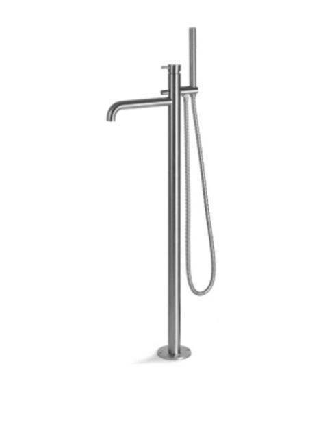 Смеситель для ванной Vema Tiber steel напольный с ручным душем нержавеющая сталь V17190AC001