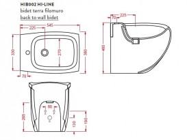 Биде напольное Artceram Hi-Line 38х54,5 см чёрный глянцевый HIB002 03;00
