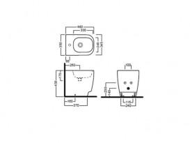 Биде напольное приставное Hatria Fusion 48 35х48 см белый YXC901