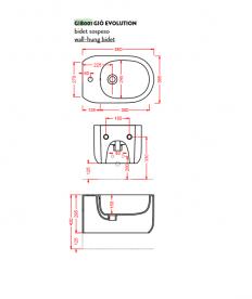 Биде подвесное ArtCeram Gio Evolution 36,5х55 см чёрный глянцевый GIB001 03;00