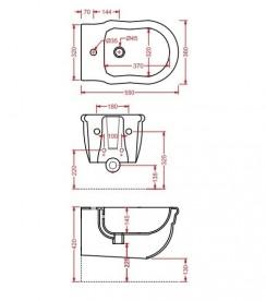Биде подвесное Artceram Hermitage 36х55 см чёрный глянцевый HEB003 03;00