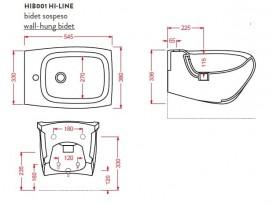 Биде подвесное Artceram Hi-Line 38х54,5 см чёрный глянцевый HIB001 03;00