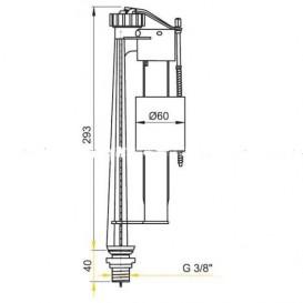 Bпускной механизм AlcaPlast для керамических бачков с нижней подводкой A12 3/8