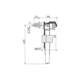 Bпускной механизм AlcaPlast для пластиковых бачков с боковой подводкой A16P-3/8