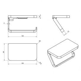Держатель для туалетной бумаги-полочка Volle Teo нержавеющая сталь хром 15-88-445