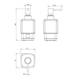 Диспенсер для жидкого мыла Volle Teo матовое стекло с мягким кольцом 15-88-121