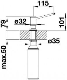 Дозатор жидкого моющего средства BLANCO LIVIA  встраиваемый в кухонную мойку  манган 521293