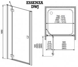 Душевая дверь Radaway Essenza DWJ 90 правая хром/коричневое стекло 32702-01-08NR