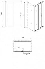 Душевая дверь в нишу Kolo GEO 6 стеклянная раздвижная 120х190 часть 1/2 GDRS12222003A