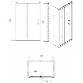 Душевая дверь в нишу Kolo GEO 6 стеклянная раздвижная 120х190 часть 1/2 GDRS12R22003A