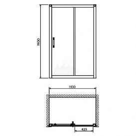 Душевая дверь в нишу Kolo GEO 6 стеклянная раздвижная 110х190 часть 2/2 GDRS11222003B