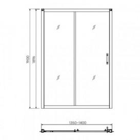 Душевая дверь в нишу Kolo GEO 6 стеклянная раздвижная 140х190 часть 1/2 GDRS14222003A