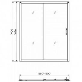 Душевая дверь в нишу Kolo GEO 6 стеклянная раздвижная 160х190 часть 2/2 GDRS16222003B