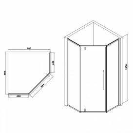 Душевая кабина Eger A Lany 100х100 профиль алюминий хром прозрачное стекло 599-553