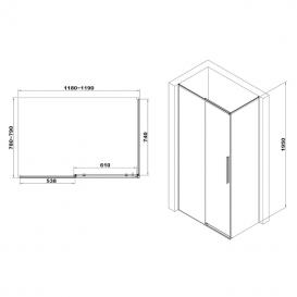 Душевая кабина Eger A Lany 120х80 профиль алюминий хром прозрачное стекло 599-550